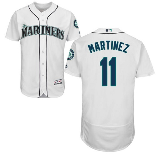 5594f300c94 Men s Majestic Seattle Mariners  11 Edgar Martinez White Flexbase Authentic  Collection MLB Jersey