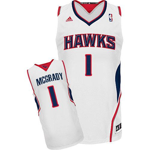 Men s Adidas Atlanta Hawks  1 Tracy Mcgrady Swingman White Home NBA Jersey 3877bb75b