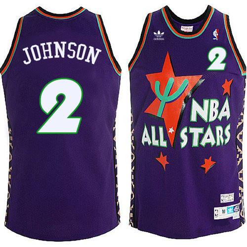 Men s Adidas Charlotte Hornets  2 Larry Johnson Swingman Purple 1995 All  Star Throwback NBA Jersey 134eddb34