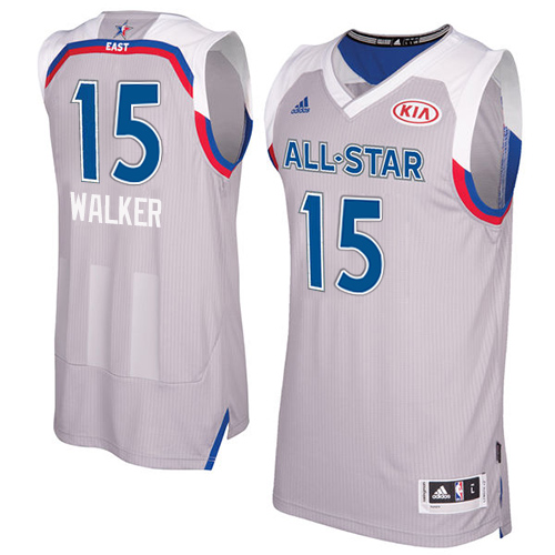 d099343f3 Men s Adidas Charlotte Hornets  15 Kemba Walker Swingman Gray 2017 All Star  NBA Jersey