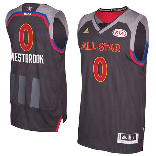 30495d4afc9d Men s Adidas Oklahoma City Thunder  0 Russell Westbrook Authentic Charcoal  2017 All Star NBA Jersey