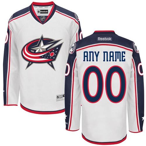 26846f8f5 Men's Reebok Columbus Blue Jackets Customized Authentic White Away NHL  Jersey