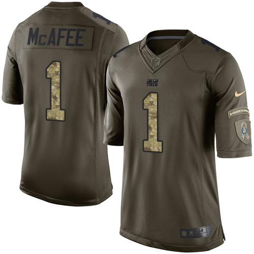 Men s Nike Indianapolis Colts  1 Pat McAfee Elite Green Salute to Service  NFL Jersey b7a3b7ec6