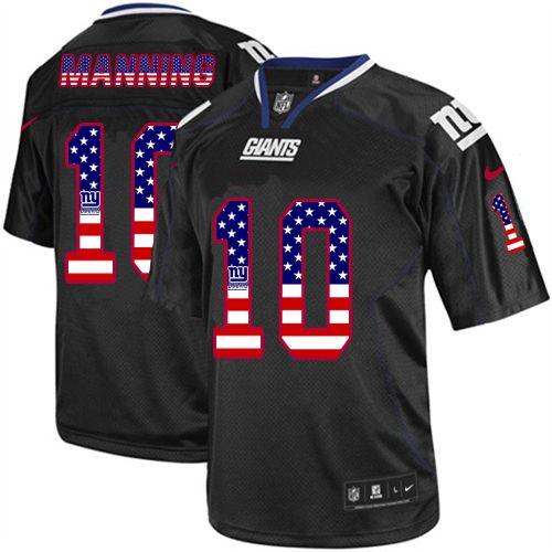 Men s Nike New York Giants  10 Eli Manning Elite Black USA Flag Fashion NFL  Jersey 09cdca29b