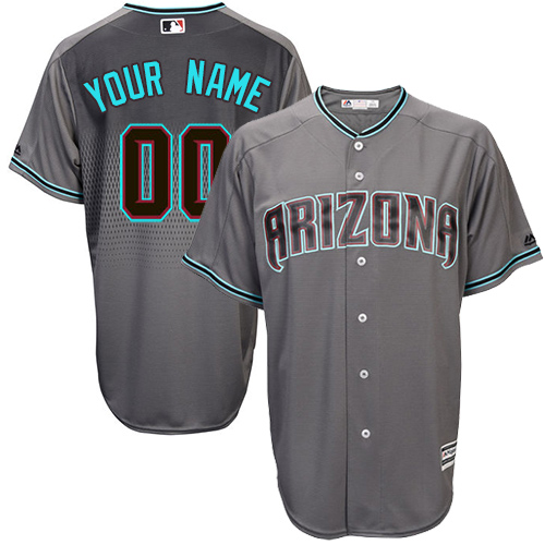 Men's Majestic Arizona Diamondbacks Customized Authentic Gray/Turquoise Cool Base MLB Jersey