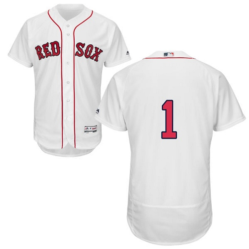 Men's Majestic Boston Red Sox #1 Bobby Doerr Authentic White Home Cool Base MLB Jersey