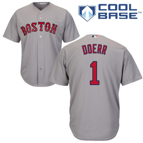 Men's Majestic Boston Red Sox #1 Bobby Doerr Replica Grey Road Cool Base MLB Jersey