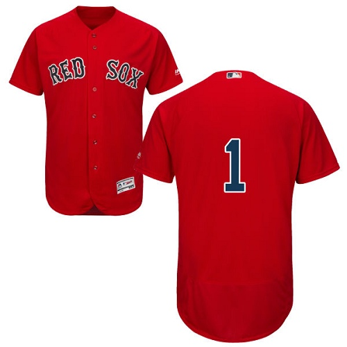 Men's Majestic Boston Red Sox #1 Bobby Doerr Authentic Red Alternate Home Cool Base MLB Jersey