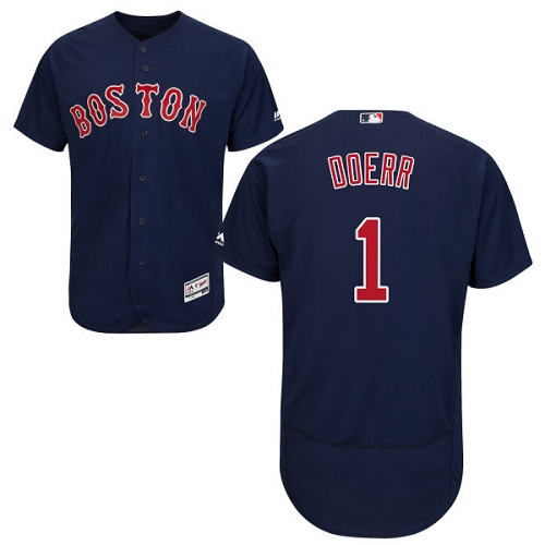 Men's Majestic Boston Red Sox #1 Bobby Doerr Authentic Navy Blue Alternate Road Cool Base MLB Jersey