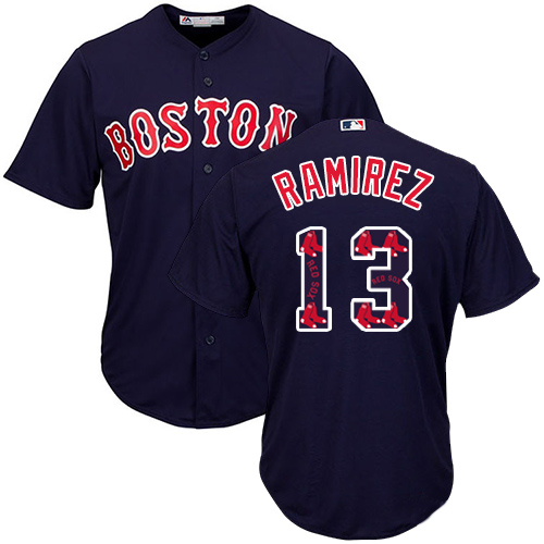 Men's Majestic Boston Red Sox #13 Hanley Ramirez Authentic Navy Blue Team Logo Fashion Cool Base MLB Jersey