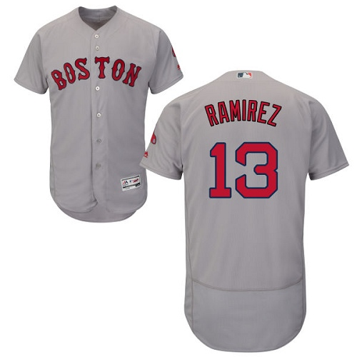 Men's Majestic Boston Red Sox #13 Hanley Ramirez Authentic Grey Road Cool Base MLB Jersey