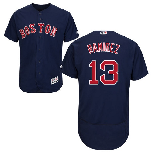 Men's Majestic Boston Red Sox #13 Hanley Ramirez Authentic Navy Blue Alternate Road Cool Base MLB Jersey