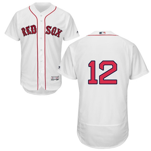 Men's Majestic Boston Red Sox #12 Brock Holt Authentic White Home Cool Base MLB Jersey