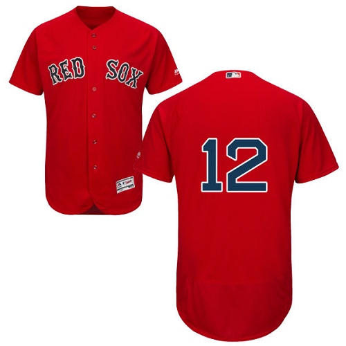 Men's Majestic Boston Red Sox #12 Brock Holt Authentic Red Alternate Home Cool Base MLB Jersey