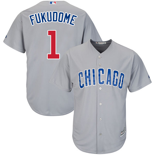 Men's Majestic Chicago Cubs #1 Kosuke Fukudome Replica Grey Road Cool Base MLB Jersey