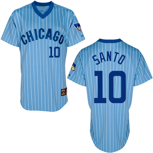 Men's Majestic Chicago Cubs #10 Ron Santo Authentic Blue/White Strip Cooperstown Throwback MLB Jersey
