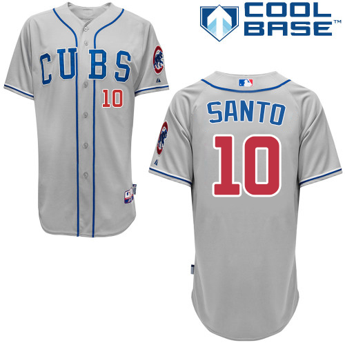 Men's Majestic Chicago Cubs #10 Ron Santo Authentic Grey Alternate Road Cool Base MLB Jersey