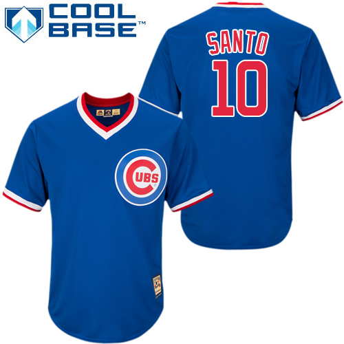 Men's Majestic Chicago Cubs #10 Ron Santo Authentic Royal Blue Cooperstown MLB Jersey