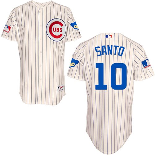 Men's Majestic Chicago Cubs #10 Ron Santo Authentic Cream 1969 Turn Back The Clock MLB Jersey