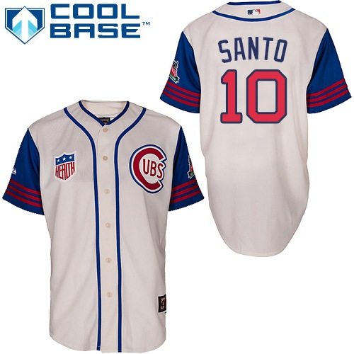 Men's Majestic Chicago Cubs #10 Ron Santo Authentic Cream/Blue 1942 Turn Back The Clock MLB Jersey