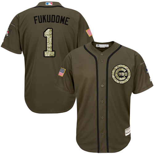 Men's Majestic Chicago Cubs #1 Kosuke Fukudome Replica Green Salute to Service MLB Jersey