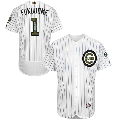 Men's Majestic Chicago Cubs #1 Kosuke Fukudome Authentic White 2016 Memorial Day Fashion Flex Base MLB Jersey