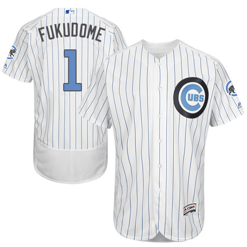 Men's Majestic Chicago Cubs #1 Kosuke Fukudome Authentic White 2016 Father's Day Fashion Flex Base MLB Jersey