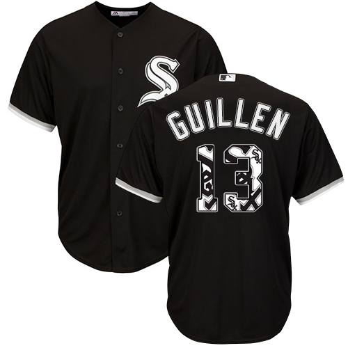 Men's Majestic Chicago White Sox #13 Ozzie Guillen Authentic Black Team Logo Fashion Cool Base MLB Jersey