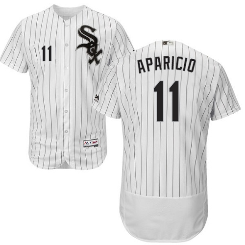 Men's Majestic Chicago White Sox #11 Luis Aparicio Authentic White Home Cool Base MLB Jersey