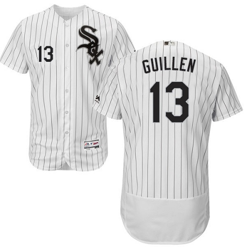 Men's Majestic Chicago White Sox #13 Ozzie Guillen Authentic White Home Cool Base MLB Jersey