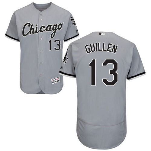 Men's Majestic Chicago White Sox #13 Ozzie Guillen Authentic Grey Road Cool Base MLB Jersey