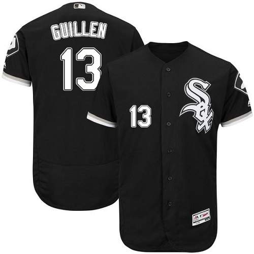 Men's Majestic Chicago White Sox #13 Ozzie Guillen Black Alternate Flexbase Authentic Collection MLB Jersey