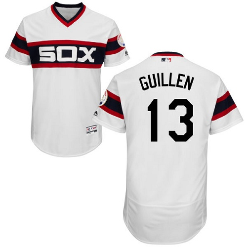 Men's Majestic Chicago White Sox #13 Ozzie Guillen Authentic White 2013 Alternate Home Cool Base MLB Jersey