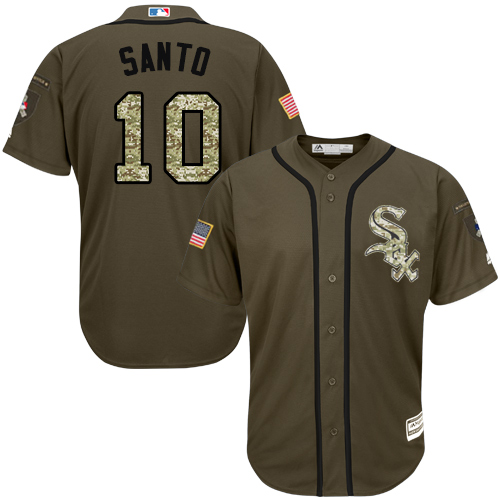 Men's Majestic Chicago White Sox #10 Ron Santo Authentic Green Salute to Service MLB Jersey