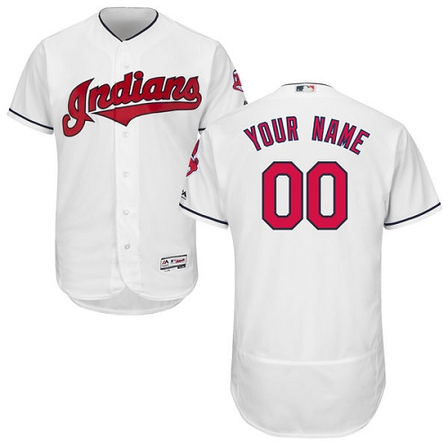 Men's Majestic Cleveland Indians Customized Authentic White Home Cool Base MLB Jersey