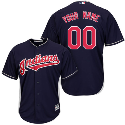 Youth Majestic Cleveland Indians Customized Authentic Navy Blue Alternate 1 Cool Base MLB Jersey