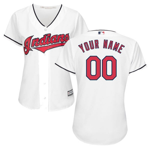 Women's Majestic Cleveland Indians Customized Replica White Home Cool Base MLB Jersey