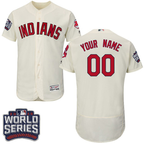 Men's Majestic Cleveland Indians Customized Cream 2016 World Series Bound Flexbase Authentic Collection MLB Jersey