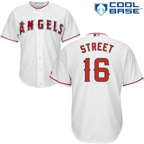 Men's Majestic Los Angeles Angels of Anaheim #16 Huston Street Replica White Home Cool Base MLB Jersey