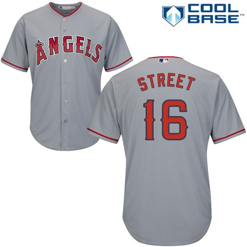 Men's Majestic Los Angeles Angels of Anaheim #16 Huston Street Replica Grey Road Cool Base MLB Jersey