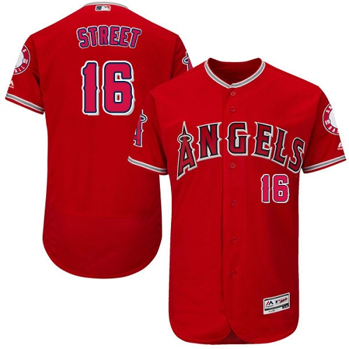 Men's Majestic Los Angeles Angels of Anaheim #16 Huston Street Red Alternate Flexbase Authentic Collection MLB Jersey