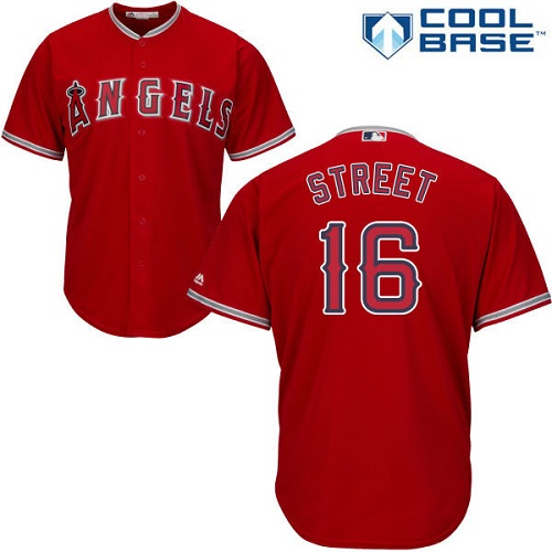 Men's Majestic Los Angeles Angels of Anaheim #16 Huston Street Replica Red Alternate Cool Base MLB Jersey