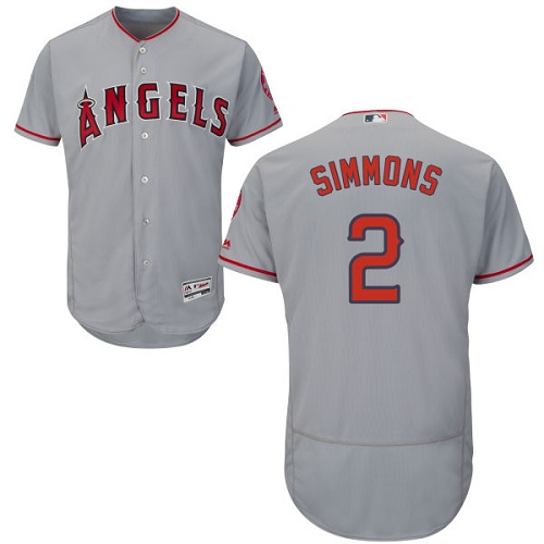 Men's Majestic Los Angeles Angels of Anaheim #2 Andrelton Simmons Authentic Grey Road Cool Base MLB Jersey
