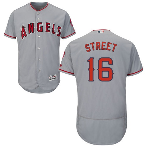 Men's Majestic Los Angeles Angels of Anaheim #16 Huston Street Grey Flexbase Authentic Collection MLB Jersey