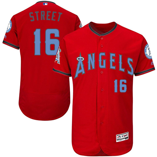 Men's Majestic Los Angeles Angels of Anaheim #16 Huston Street Authentic Red 2016 Father's Day Fashion Flex Base MLB Jersey