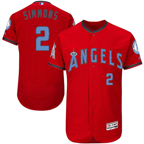 Men's Majestic Los Angeles Angels of Anaheim #2 Andrelton Simmons Authentic Red 2016 Father's Day Fashion Flex Base MLB Jersey