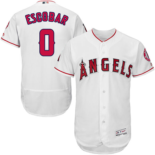 Men's Majestic Los Angeles Angels of Anaheim #0 Yunel Escobar White Flexbase Authentic Collection MLB Jersey