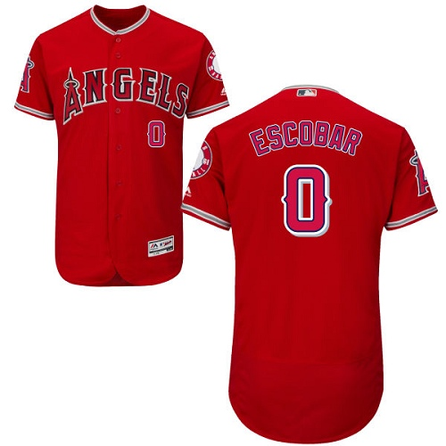 Men's Majestic Los Angeles Angels of Anaheim #0 Yunel Escobar Red Alternate Flexbase Authentic Collection MLB Jersey