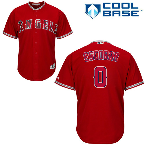 Men's Majestic Los Angeles Angels of Anaheim #0 Yunel Escobar Replica Red Alternate Cool Base MLB Jersey