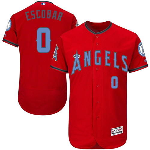 Men's Majestic Los Angeles Angels of Anaheim #0 Yunel Escobar Authentic Red 2016 Father's Day Fashion Flex Base MLB Jersey